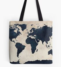 World Map Distressed Navy Tote Bag