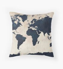 World Map Distressed Navy Throw Pillow