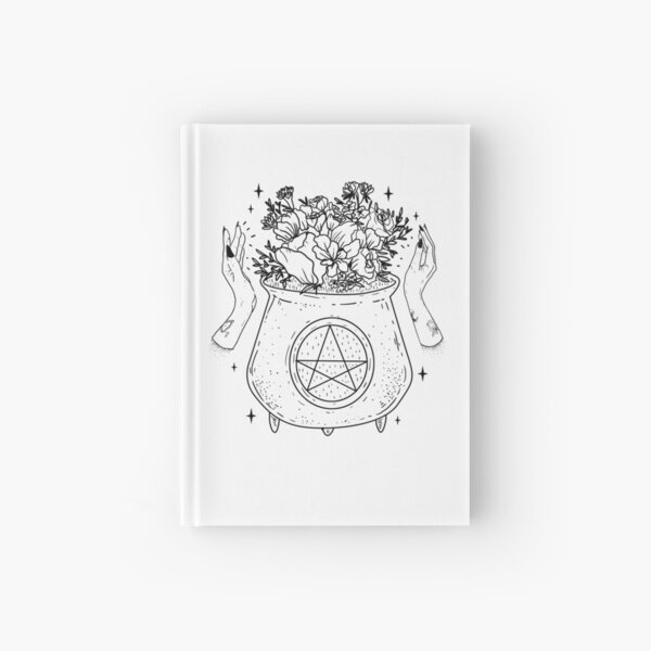 magical cauldron - blk on wht- Hardcover Journal