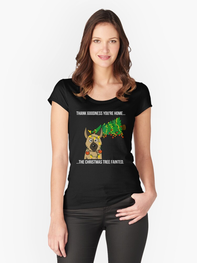 Funny German Shepherd The Xmas Tree Fainted Christmas Women's Fitted Scoop T-Shirt Front