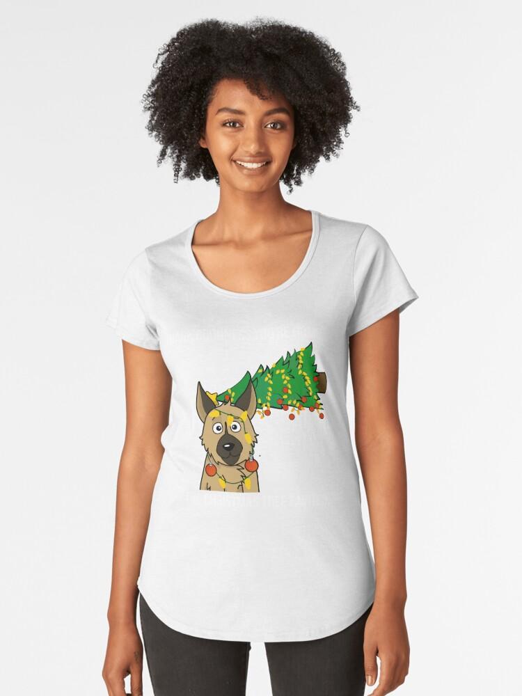 Funny German Shepherd The Xmas Tree Fainted Christmas Women's Premium T-Shirt Front