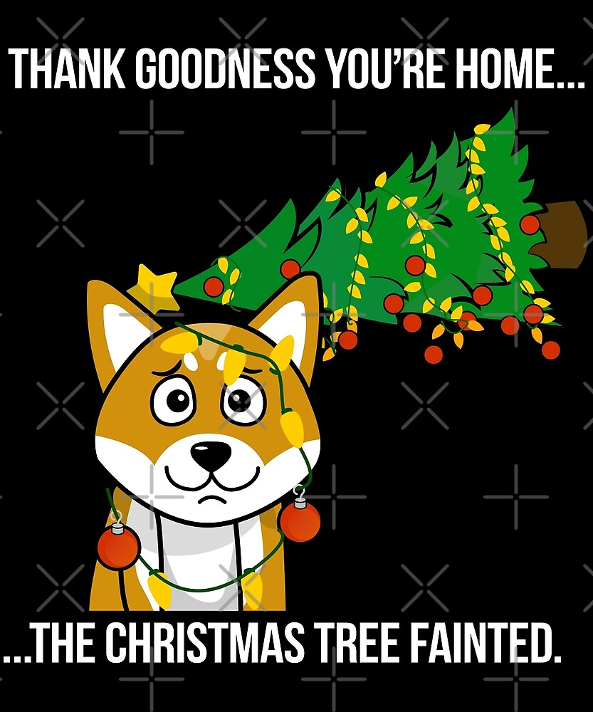 Funny Shiba Inu The Xmas Tree Fainted Christmas by ilovepaws