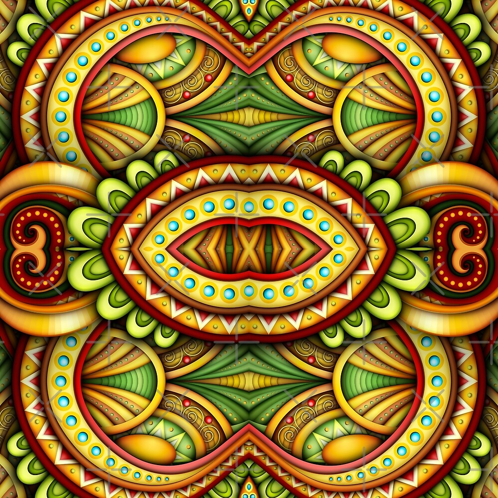 Colored Seamless Tile Pattern, Fantastic Kaleidoscope by lissantee