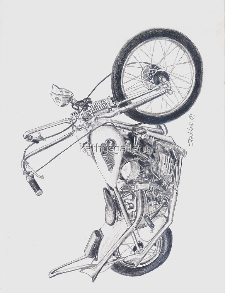 u0026quot knucklehead motorcycle drawing u0026quot  by kathysgallery