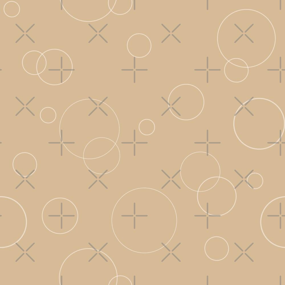 Seamless pattern texture. Geometric ornament with color full circles on brown by asnia