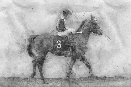 Jockey on horse. Champion. Horse racing. Hippodrome. Racetrack. Jump racetrack. by jacekd