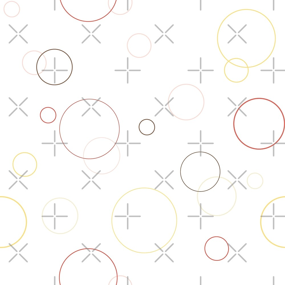Seamless pattern texture. Geometric ornament with color full circles on white by asnia