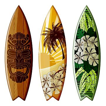 Aloha Island surfboards brightly decorated by headpossum