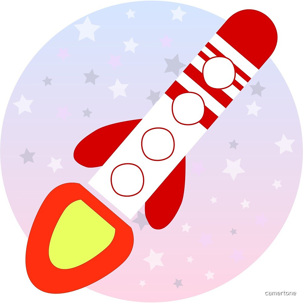 Flat cartoon rocket on pastel star sky  by camertone