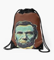 Abraham Lincoln - blue on rust Drawstring Bag