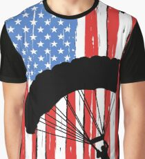 Skydiving American Flag Graphic T-Shirt