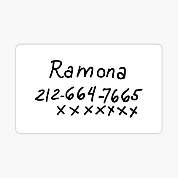 Scott Pilgrim - Ramona Flowers Phone Number Sticker