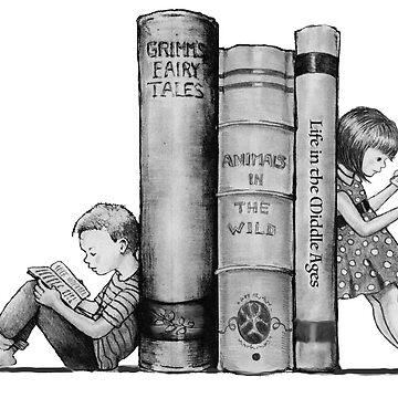 Kids Reading Books, Bookends, Pencil Art, Literacy by Joyce