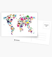 Dinosaur Map of the World Map Postcards