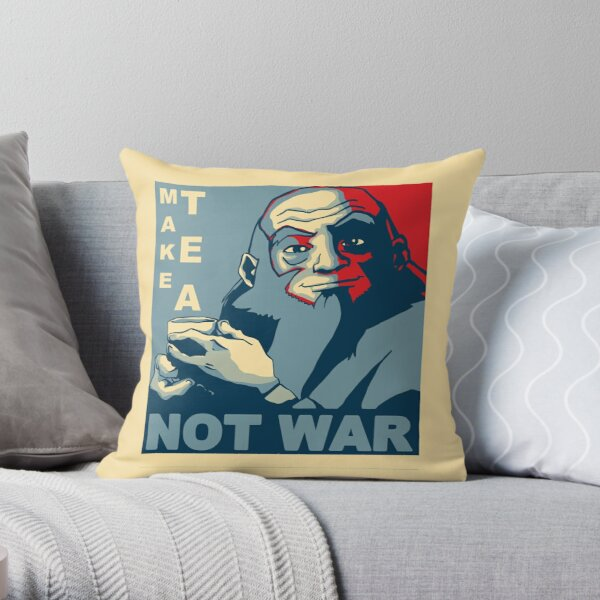 "Iroh ""Make Tea Not War"" Throw Pillow"