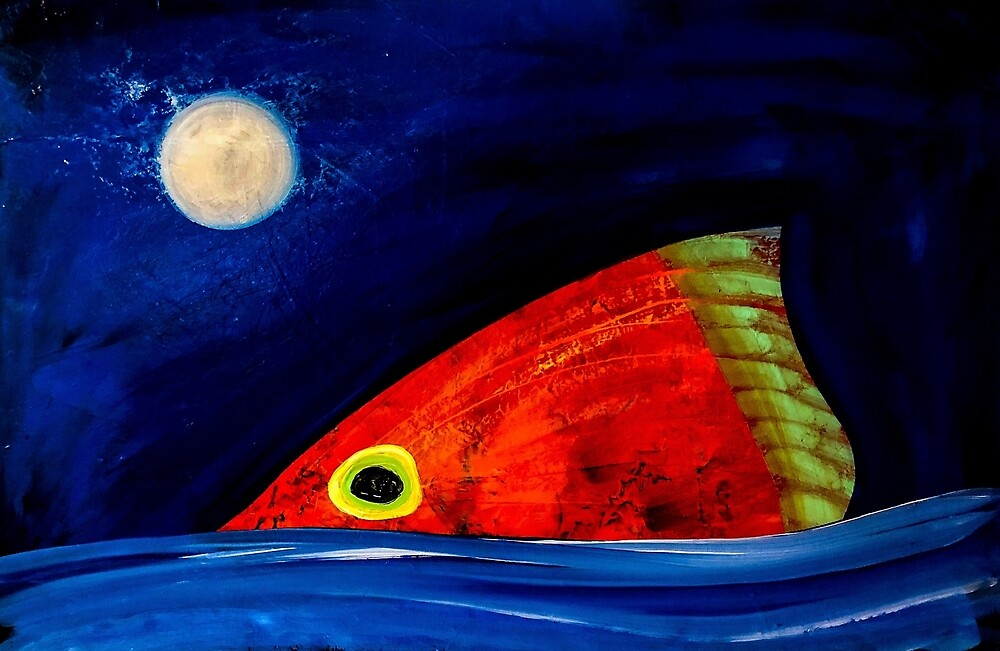 Redfish and Moon by barryknauff