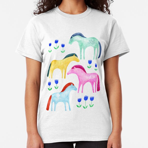 Horses and blue tulips Classic T-Shirt