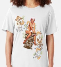 The Kitsch Bitsch : Tiki Goddess Retro Pin-Up Slim Fit T-Shirt
