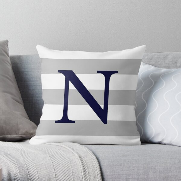 Silver Gray Stripes Navy Blue Monogram N Throw Pillow