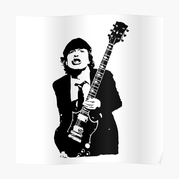 GIFTS AND PORTRAIT of Angus Australian Rock Star GIFTS FOR YOU IN 2021 FROM MONOFACES Poster