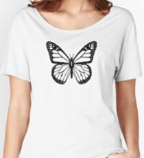 Butterfly, Black and White Butterfly Women's Relaxed Fit T-Shirt