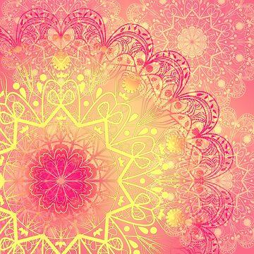 Mandala in Rose and Lemon by RoxanneG