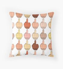 Multicultural Middle Fingers Throw Pillow