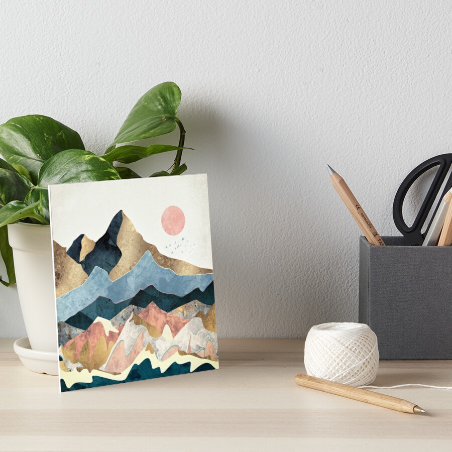 Golden Peaks Art Board Print