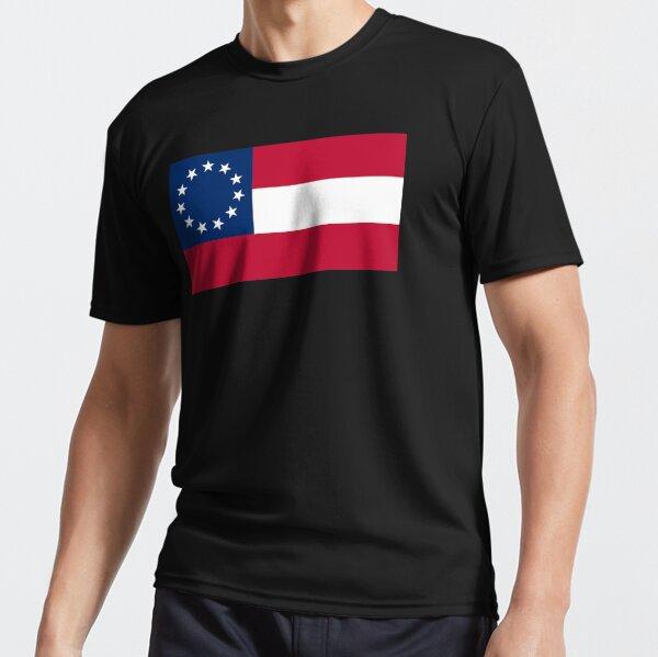 Stars & Bars. USA, America, First American National Flag, 11 stars, 1861, on BLACK. Active T-Shirt