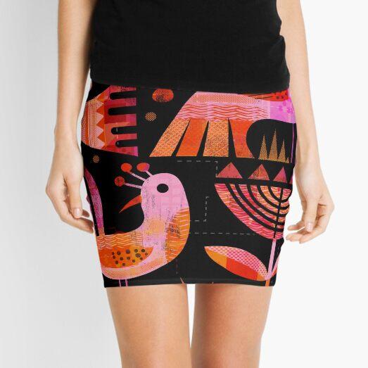 Pink Birds at Night Mini Skirt