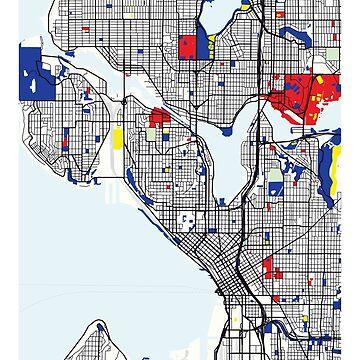 Mapa de Seattle (Estados Unidos) x Piet Mondrian de franciscouto