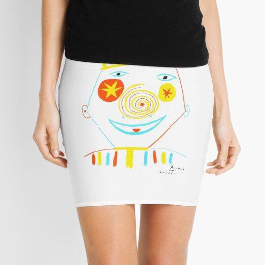 Pablo Picasso Le Clown (The Clown) Artwork Reproduction, tshirt, tee, jersey, poster, artwork Mini Skirt