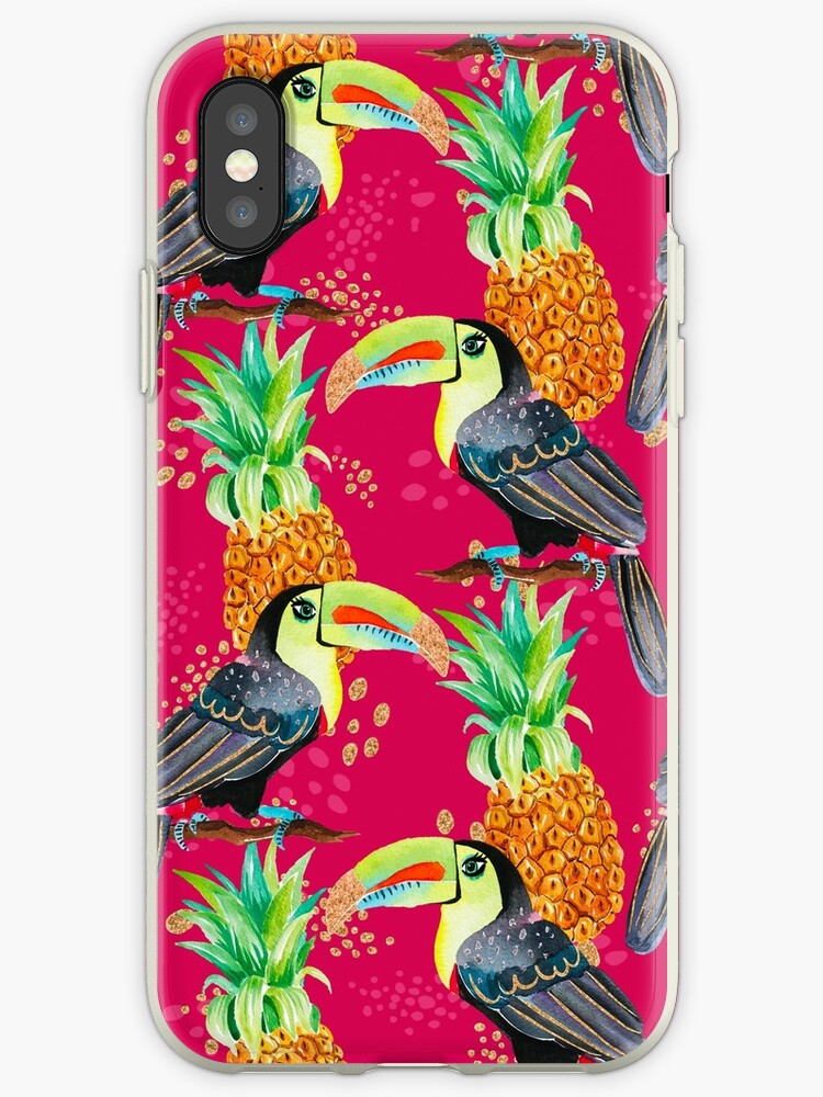 Red Pink Tropical Toucan Pineapple Print Pattern by jmac111