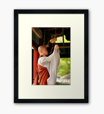 Ringing the Bell - Beopju Temple, South Korea Framed Print