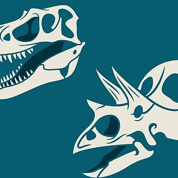 Gorgosaurus and Torosaurus Skulls: Blue Colorway by anatotitan