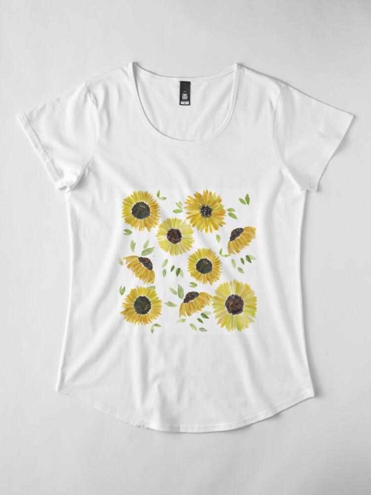 Alternate view of Sunflowers Premium Scoop T-Shirt