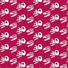 Gorgosaurus and Torosaurus Skulls: Dark Pink Colorway by David Orr
