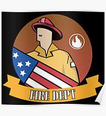 Hero Fireman USA Flag Fire Department Badge Poster