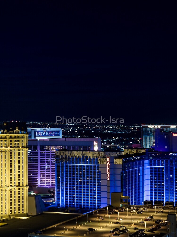 Elevated view of The Strip, Las Vegas, Nevada, USA. at night with illuminated buildings  by PhotoStock-Isra