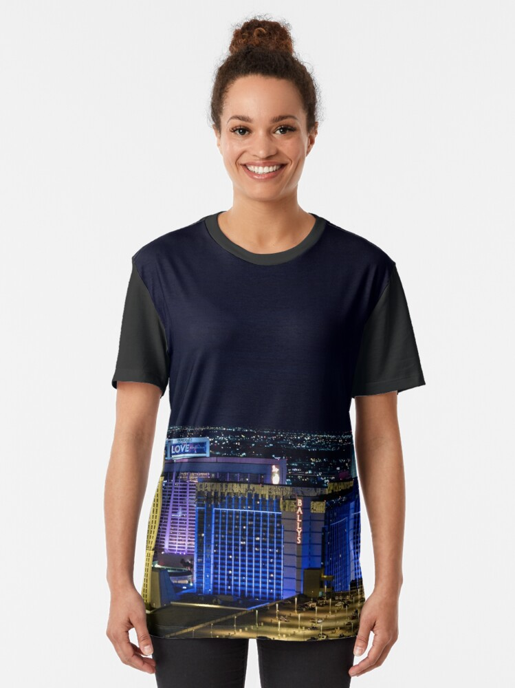 Alternate view of Elevated view of The Strip, Las Vegas, Nevada, USA. at night with illuminated buildings  Graphic T-Shirt