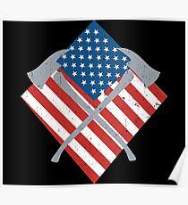 USA Flag Firefighter Axes Fire Department Poster