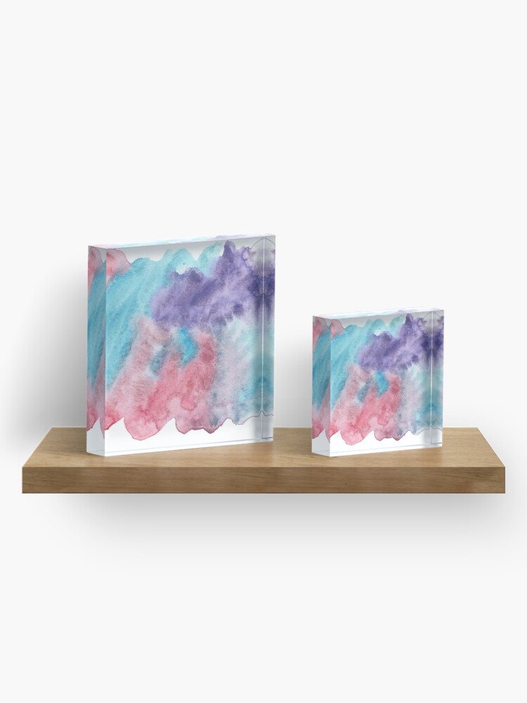 Alternate view of Original Watercolor Painting Wet on Wet color bleed Acrylic Block