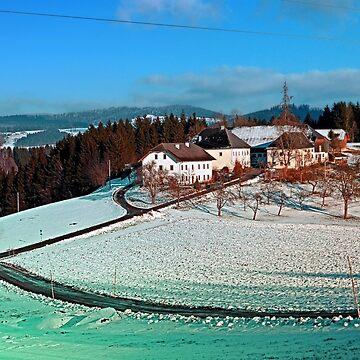 Village scenery in winter wonderland | landscape photography by patrickjobst