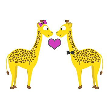 Adorable Giraffes in Love by Eggtooth
