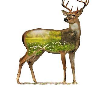 Wild Deer Buck Art Forest Animal T-Shirt by Ducky1000