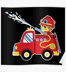 Cute Kids Fire Engine Truck Bear Hose Poster