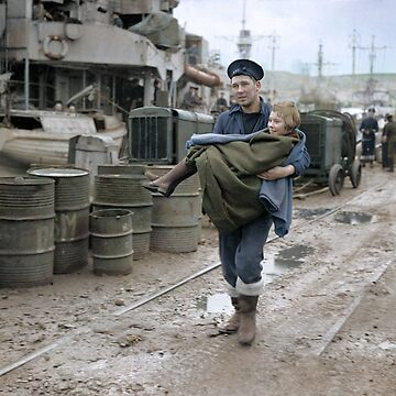 Norwegian child being carried to an ambulance from HMS Onslaught at Gourock, 1 March 1945 by cassowaryprods