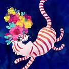White Tiger with flowers by monikasuska