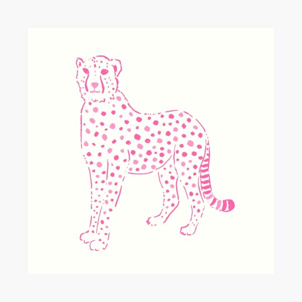 Pink and white preppy leopard Art Print