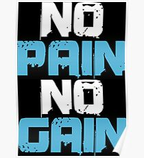 No Pain No Gain Bodybuilding Gym Workout Muscle Poster